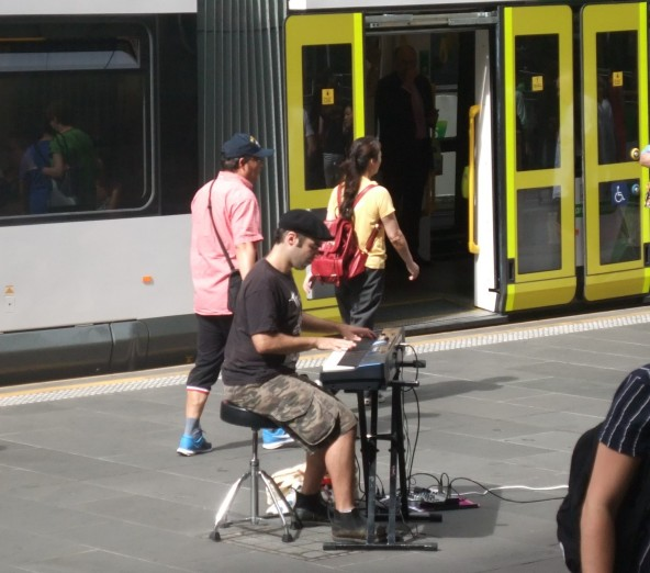 Chopin wafting round the Bourke Street Mall